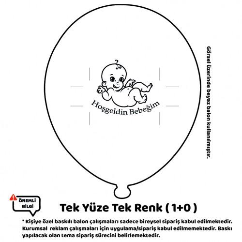 100 Adet Tek Yüze Tek Renk Baskılı Balon